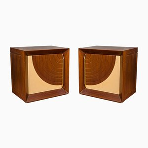 Quarti di Luna Rosewood & Parchment Nightstands by Luciano Frigerio for Desio, 1976, Set of 2