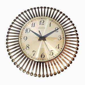 Orologio da parete Sunburst in ottone di Richter, anni '50