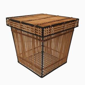 Metal and Rattan Storage Basket by Dirk van Sliedregt for Rohé Noordwolde, 1960s
