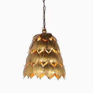 Lampada da soffitto in metallo dorato, anni '70
