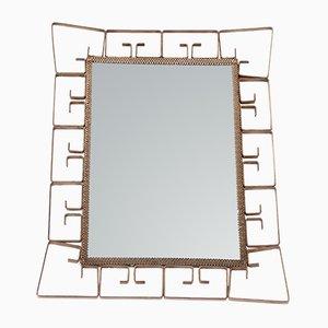 Kleiner rechteckiger Spiegel mit Rahmen aus Messing, 1970er