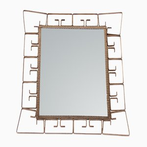 Small Brass Rectangular Mirror, 1970s