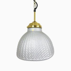 Lámpara colgante Mid-Century de vidrio, años 60
