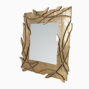Viereckiger Vintage Spiegel mit Rahmen aus massivem Messing, 1970er