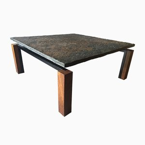Table Basse en Ardoise, Wenge et Metal, 1960s