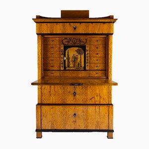 Antiker deutscher Biedermeier Schreibtisch aus Birkenfurnier, 1820er