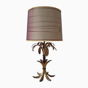 French Hollywood Regency Gold Metal Palm Tree Table Lamp, 1950s