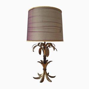 Lámpara de mesa Hollywood Regency francesa con metal dorado en forma de palmera, años 50