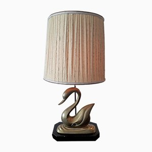 French Brass Hollywood Regency Swan Table Lamp, 1950s