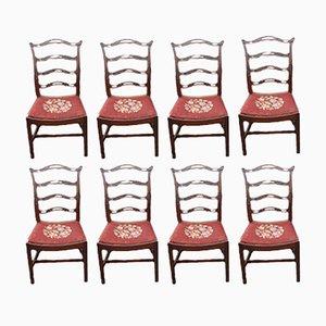 Mahogany Ladderback Dining Chairs, 1960s, Set of 8