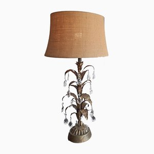 American Hollywood Regency Gold Metal & Glass Palm Tree Table Lamp, 1950s