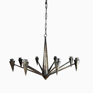Lámpara de araña de hierro patinado hecha a mano, años 70