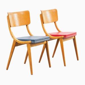 Chaises de Salle à Manger en Simili Cuir Rouge et Bleu et Hêtre, 1950s, Set de 2