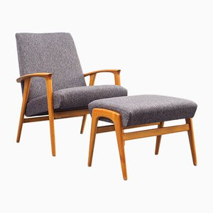 Ash Armchair and Ottoman, 1960s, Set of 2
