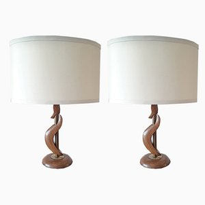 American Walnut & Brass Table Lamps, 1960s, Set of 2