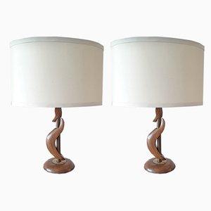 Lámparas de mesa estadounidenses de nogal y latón, años 60. Juego de 2