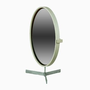 Circular White Mirror by Uno & Östen Kristiansson for Luxus, 1960s
