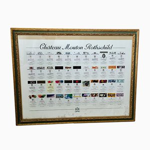 Large Framed Chateau Mouton Rothschild Wine Label Print, 1980s
