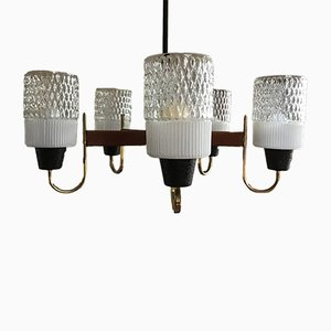 Danish Brass and Teak Chandelier, 1960s