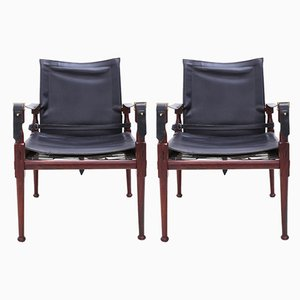 Rosewood Safari Armchairs from M. Hayat & Brothers, Set of 2