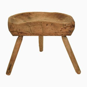 Early 19th-Century Cherry Wood Splayed Leg Cobbler Stool