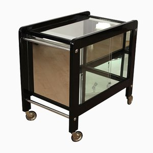 Art Deco Lacquer and Glass Serving Table, 1930s