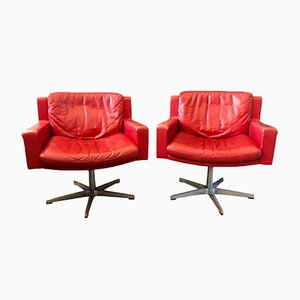 Model RH201 Red Leather Swivel Chairs from de Sede, 1950s, Set of 2