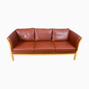 Sofá de tres plazas Mid-Century de cuero marrón de Friis Mobler, años 70