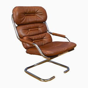 Mid-Century Brown Leather and Chrome Lounge Chair, 1970s