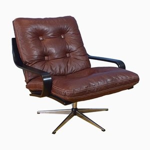 Mid-Century Danish Plum Leather Swivel Lounge Chair, 1970s