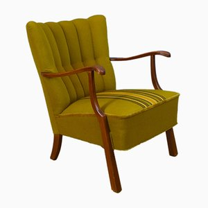 Mid-Century Green Striped Cotton Lounge Chair, 1950s