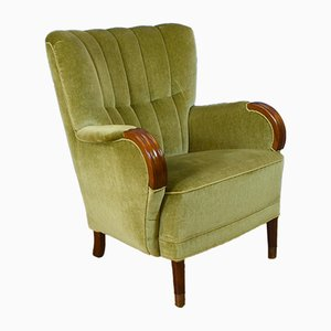 Mid-Century Art Deco Danish Pale Green Velvet Gentlemans Lounge Chair