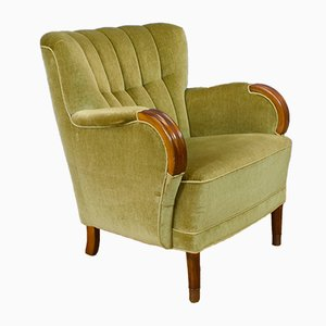 Mid-Century Art Deco Danish Pale Green Velvet Ladies Lounge Chair