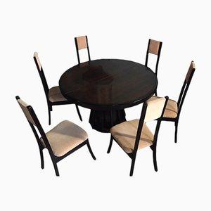 Tavolo da pranzo rotondo con sei sedie di Angelo Mangiarotti per La Sorgente dei Mobili, anni '70