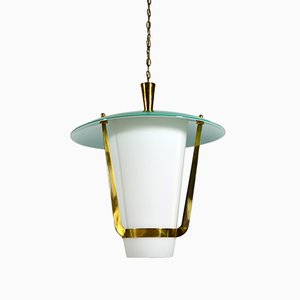 Italian White and Green Brass Ceiling Lamp, 1950s