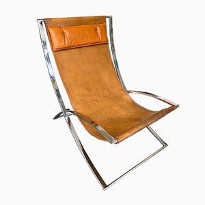 Chaise longue italiana de cuero y metal cromado de Marcello Cuneo, años 70