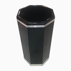 Portaombrelli laccato nero in metallo cromato, anni '30