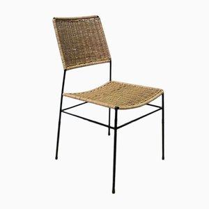 Beistellstuhl aus Rattan & Metall, 1950er