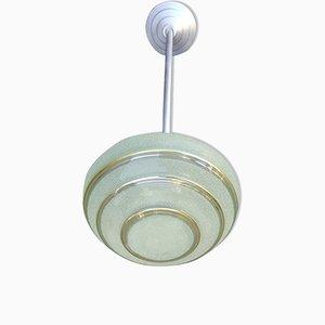 Lampe à Suspension en Aluminium et Verre Opalin, 1940s