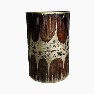 Mid-Century Silver-Plated Glass Vase from Gallinaro