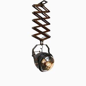 Lámpara de acordeón industrial vintage negra de metal