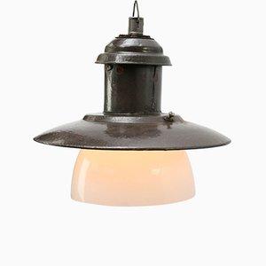 Lampe à Suspension Industrielle Vintage en Verre Opalin et email Marron