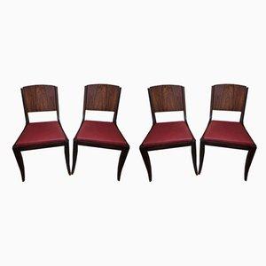 Chaises d'Appoint Style Art Deco en Palissandre, 1940s, Set de 4
