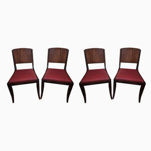 Art Deco Style Rosewood Side Chairs, 1940s, Set of 4