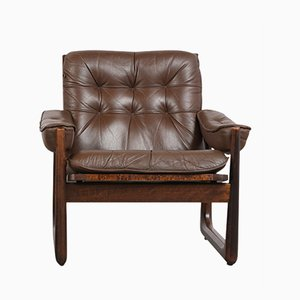 Leather and Rosewood Armchair, 1990s