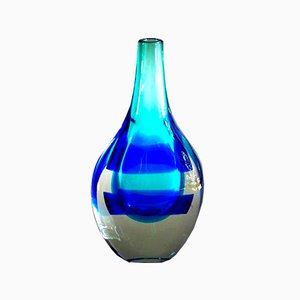 Mid-Century Blue and White Glass Vase by Luciano Gaspari for Salviati & C.