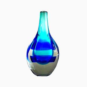 Vase Mid-Century en Verre Bleu et Blanc par Luciano Gaspari pour Salviati & C.