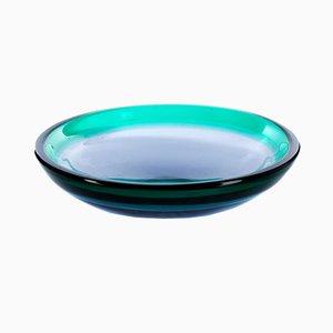 Blaue Mid-Century Glasschale von Luciano Gaspari für Salviati & C.