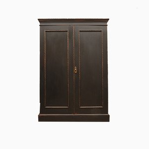 Antique Black Painted Linen Press Wardrobe