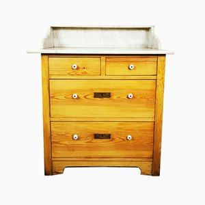 Victorian Marble and Pine Washstand Cupboard